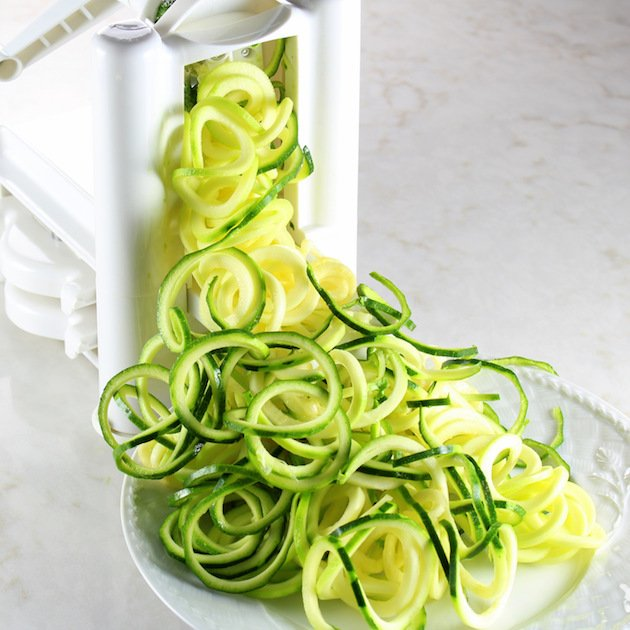 Baked Haddock Fish Piccata with Zucchini Noodles Recipe & Image: Zoodles being Mad