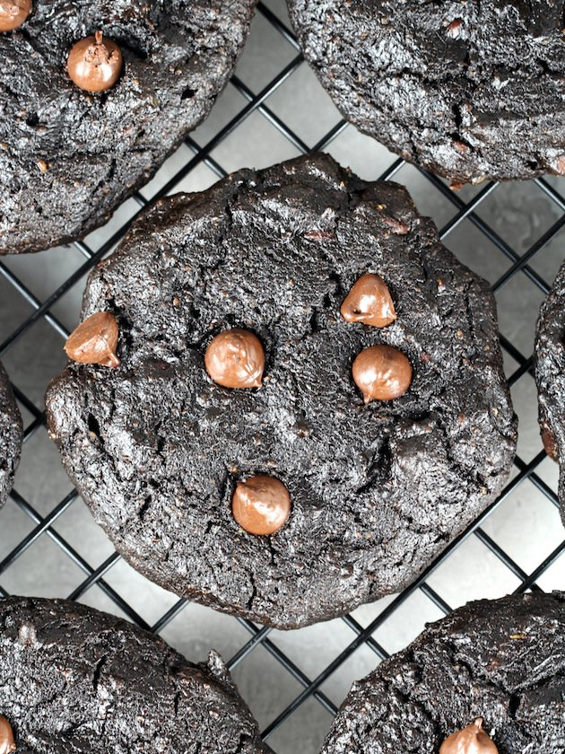 Double Chocolate Protein Cookies Recipe & Image: Close up OT Cookie Cooling on wire rack
