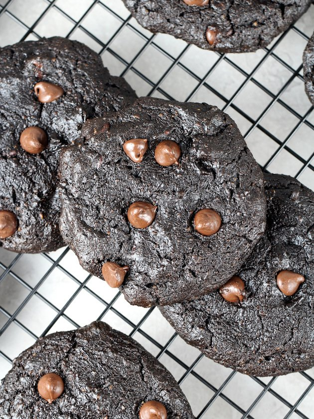 Double Chocolate Protein Cookies Recipe & Image: OT Stacked cookies cooling on wire rack