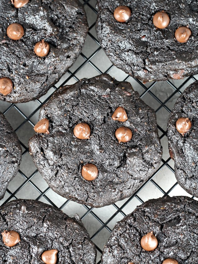 Double Chocolate Protein Cookies Recipe & Image: Cookies cooling on wire rack