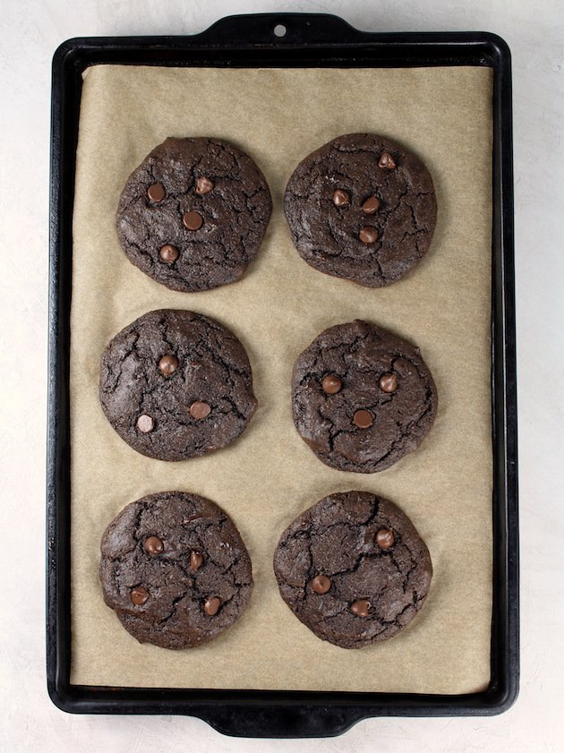Double Chocolate Protein Cookies Recipe & Image: Cookies baked on parchment lined sheet