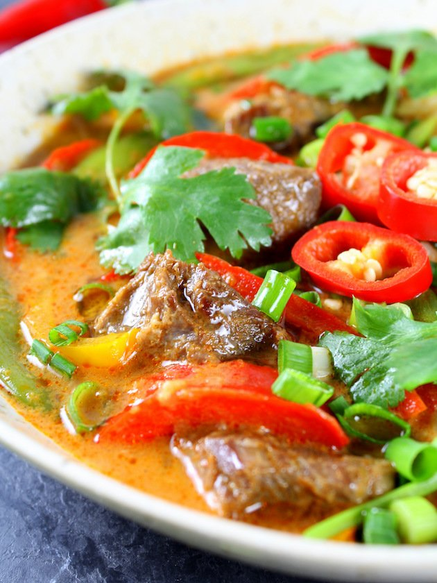 Instant Pot Beef Thai Red Curry Recipe & Image: Partial Bowl EL