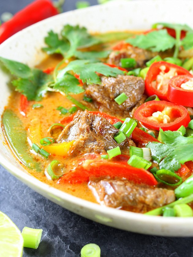 Partial Bowl of Instant Pot Beef Thai Red Curry Close Up
