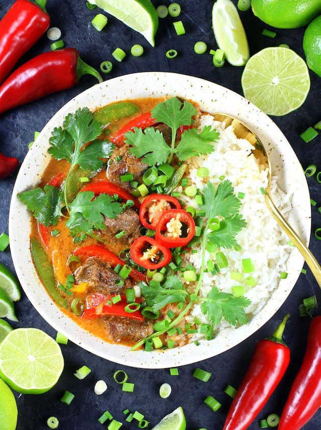 Instant Pot Beef Thai Red Curry Recipe & Image: Full bowl OT