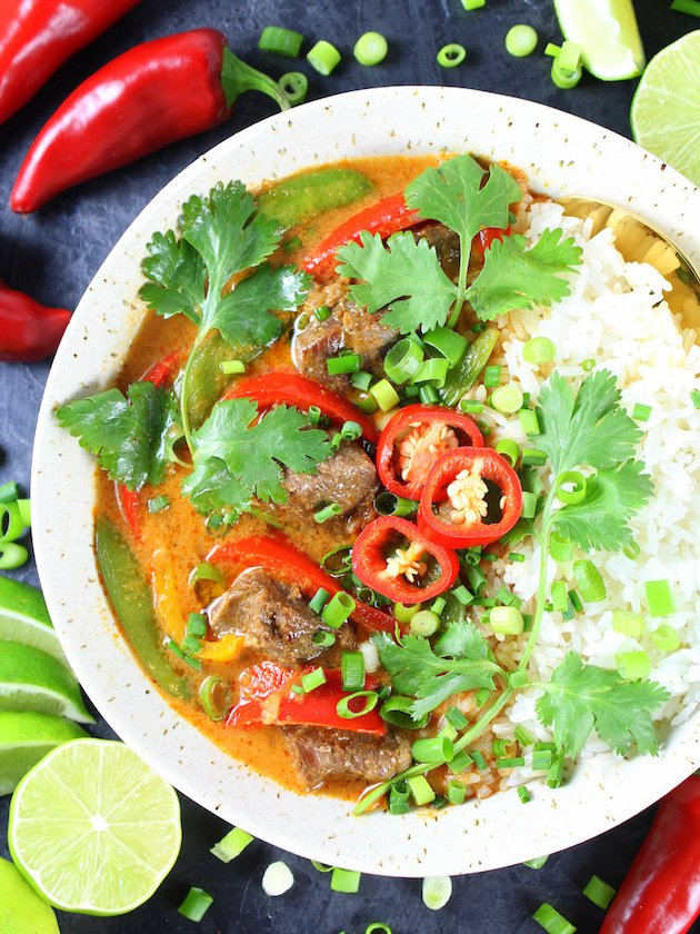 Instant Pot Beef Thai Red Curry Recipe & Image: Partial Bowl OT