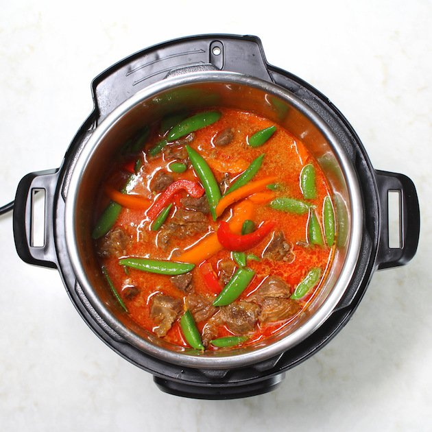 Instant Pot Beef Thai Red Curry Recipe & Image: Curry in IP with Peppers & Snap Peas