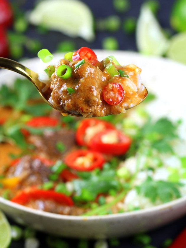Spoonful of Instant Pot Beef Thai Red Curry