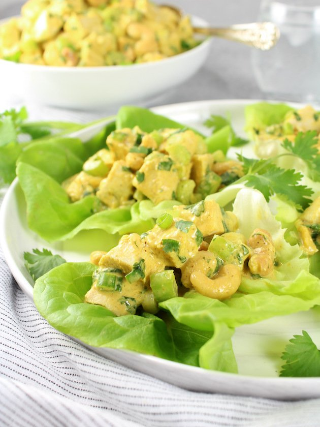 Lighter Curried Chicken Salad with Cashews Image & Recipe - Partial Plate with lettuce wrap chicken curry