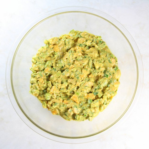 Lighter Curried Chicken Salad with Cashews Image & Recipe - Curry ingredients mixed together