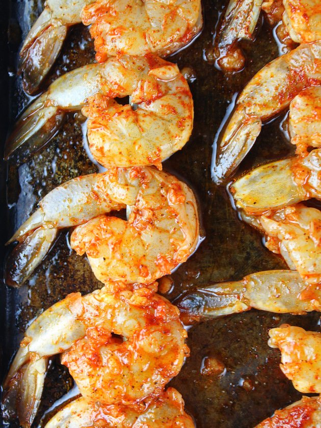 Grilled Chili Lime Shrimp Recipe & Image: Close up of skewered shrimp before baking