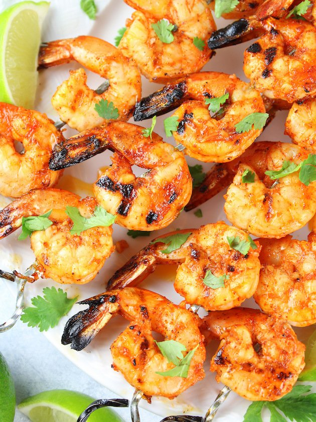 Grilled Chili Lime Shrimp Recipe & Image: Close up plate of grilled shrimp OT