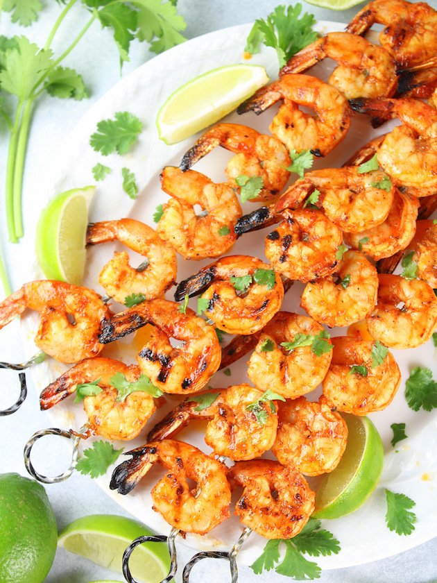 Grilled Chili Lime Shrimp Recipe & Image: Grilled shrimp skewers on platter
