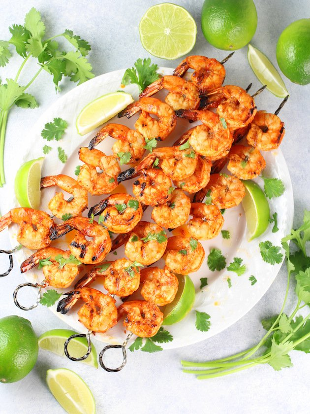 Grilled Chili Lime Shrimp Recipe & Image: Full plate of cooked shrimp OT