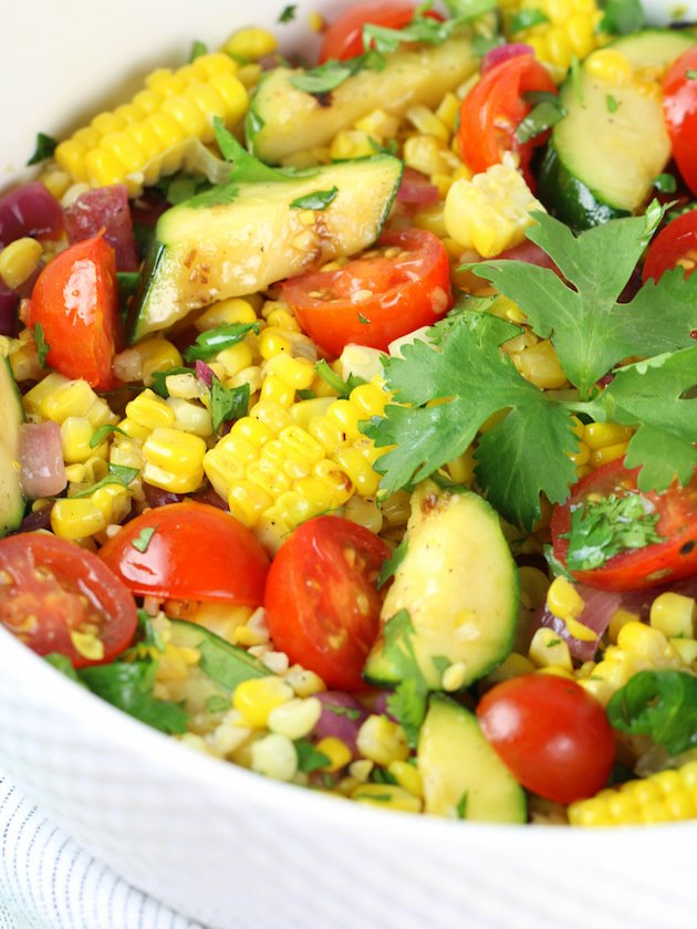 Grilled Veggies and Corn Salad with White Balsamic Dressing Recipe & Image: Close up Salad Partial Bowl