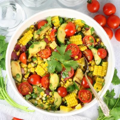 Grilled Veggies and Corn Salad with White Balsamic Dressing