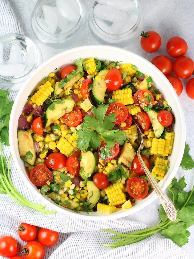 Grilled Veggies and Corn Salad with White Balsamic Dressing Recipe & Image: Salad in bowl OT