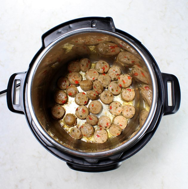 chicken sausage cooking in Instant Pot