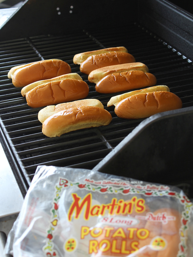 Philly Cheesesteak Hot Dog Recipe & Image: buns toasting