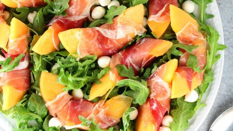 Melon Mozzarella Prosciutto Salad with Arugula