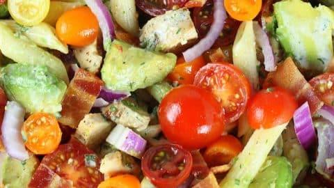 BBQ Chicken Bacon Ranch Pasta Salad