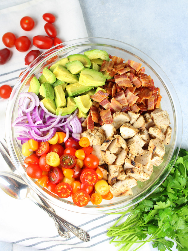 BBQ Chicken Bacon Ranch Pasta Salad Recipe & Image: pasta salad ingredients in glass bowl