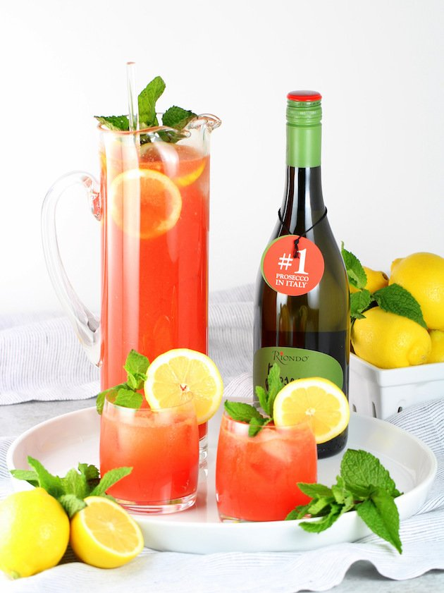 Watermelon Lemonade Prosecco Spritzer Recipe & Image: 2 classes with pitcher and prosecco bottle