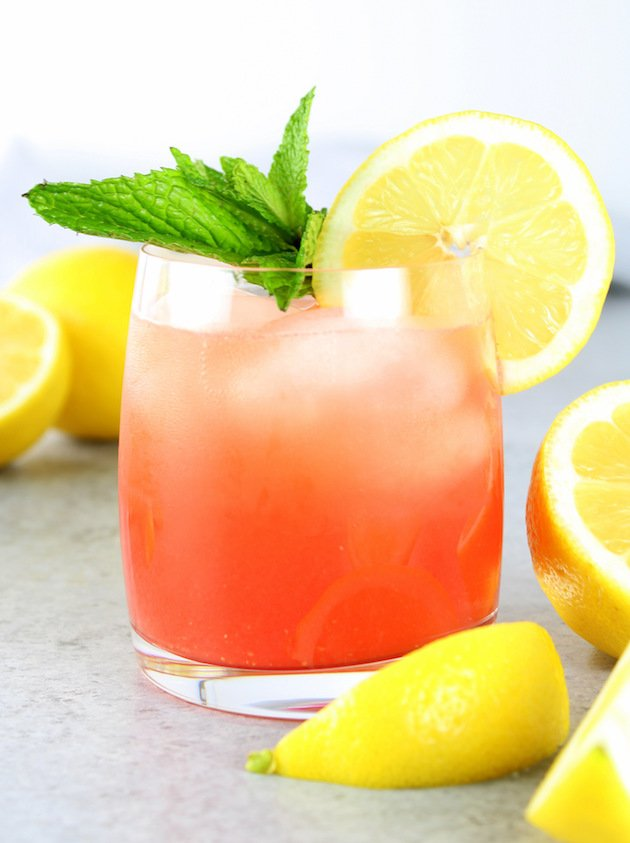 Close up of one glass of Watermelon Lemonade Prosecco Spritzer