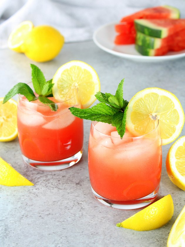 Watermelon Lemonade Prosecco Spritzer Recipe & Image: two glasses of spritzer