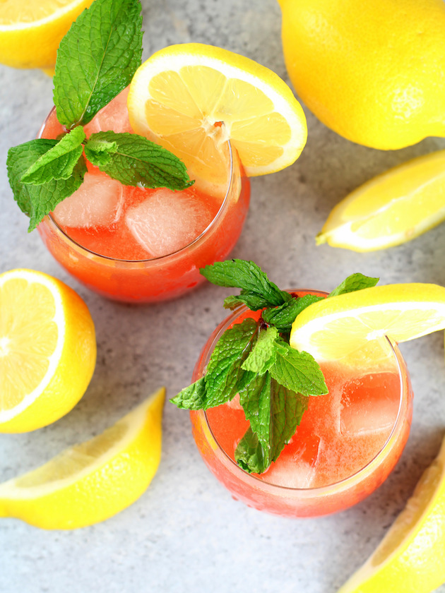 Watermelon Lemonade Prosecco Spritzer Recipe & Image: two glasses of spritzer over the top
