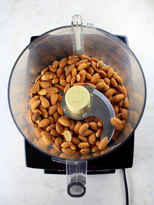 Whole almonds in food processor