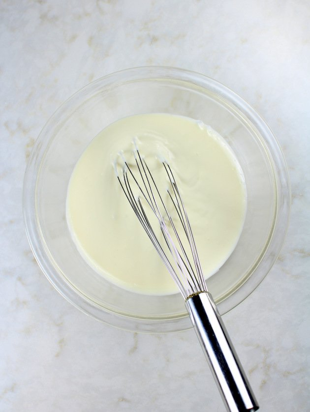 No bake cheesecake in mixing bowl
