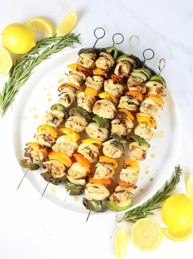 Grilled Rosemary Lemon Chicken Kabob Recipe & Image: skewers on platter over top