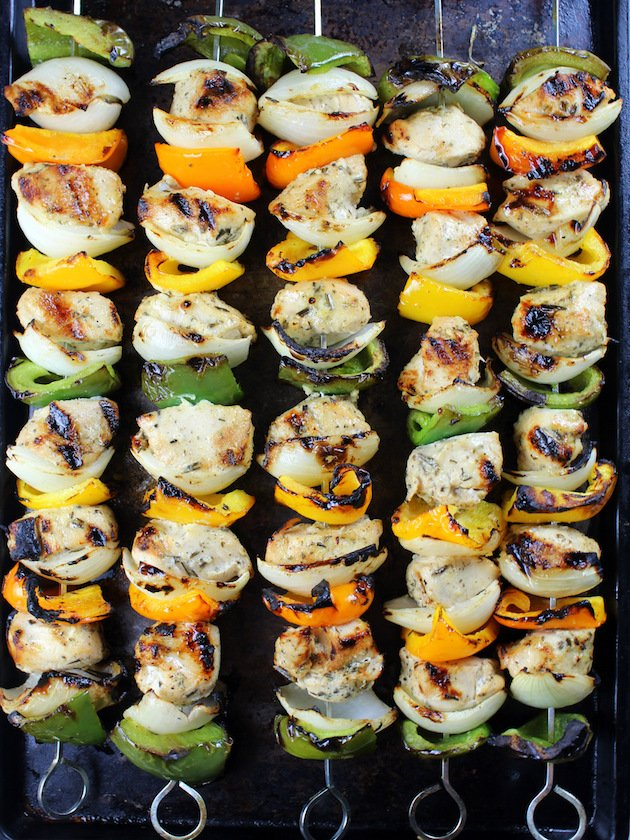 Grilled Rosemary Lemon Chicken Kabob Recipe & Image: Skewers on baking sheet