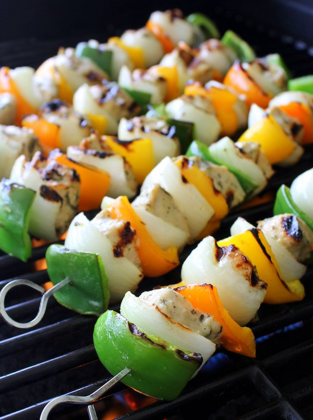 Grilled Rosemary Lemon Chicken Kabob Recipe & Image: kabobs cooking on grill