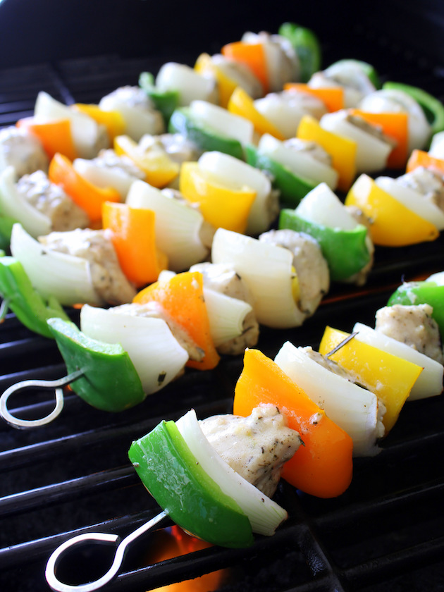 Grilled Rosemary Lemon Chicken Kabob Recipe & Image: skewers cooking on grill