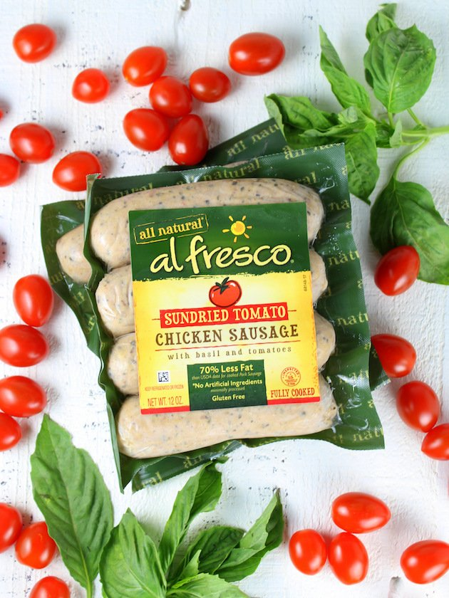 One Pot Creamy Chicken Pesto Pasta: al fresco all natural sun dried tomato chicken sausage