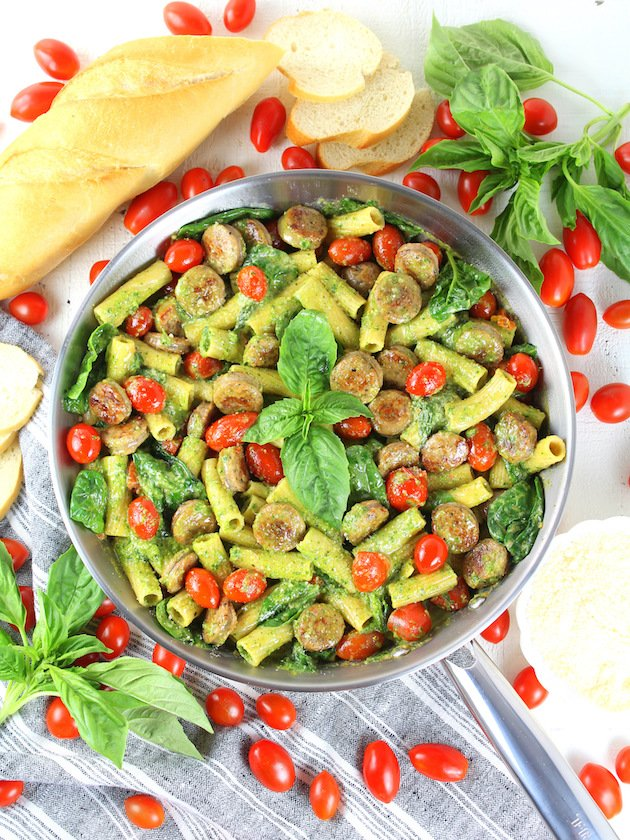 One Pot Creamy Chicken Pesto Pasta Recipe & Image: Pesto Sun Dried Tomato Pasta in pan