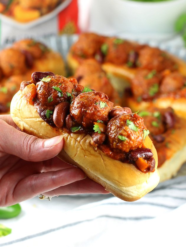 Slow Cooker Meatball Chili Sliders Recipe & Image: up close crockpot meatball sandwich