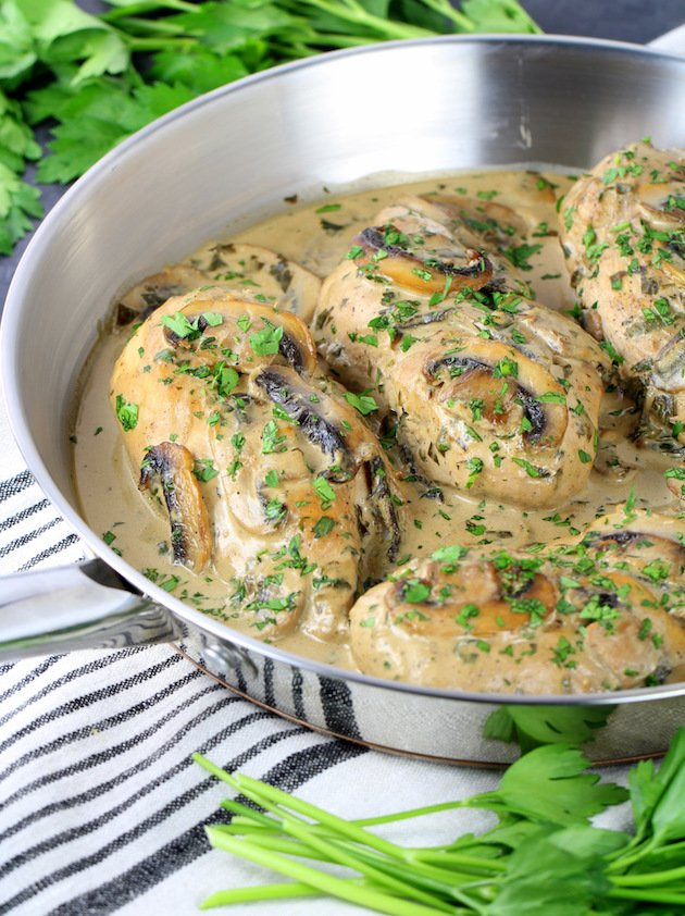 Chicken with Creamy Parmesan Mushroom Sauce Recipe & Image - Partial Pan EL Cooked Chicken