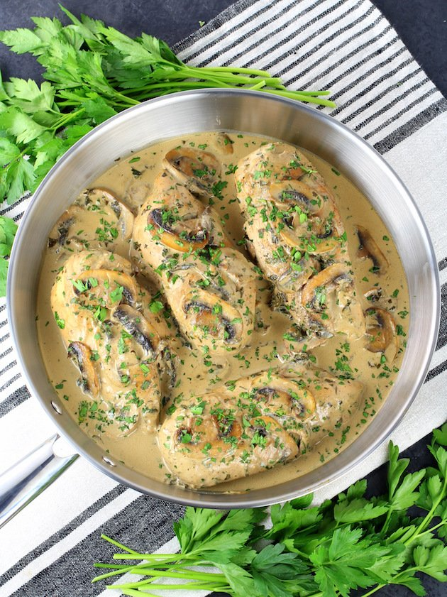 A saute pan of Chicken and creamy Mushroom sauce