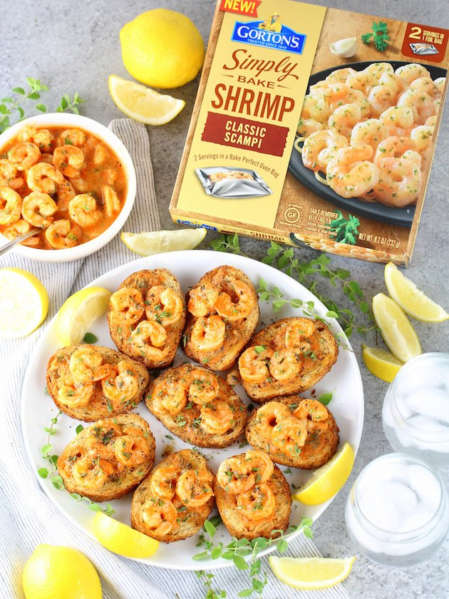 Easy Cajun Shrimp Toast Appetizers Recipe & Image: Over Top Wide Plate of Shrimp Toast with Gorton's Shrimp