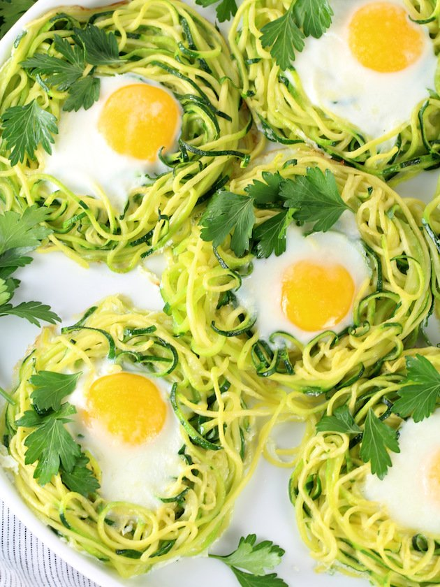 Zoodle Egg Nests - Partial Platter of Cooked Eggs In Nest OT
