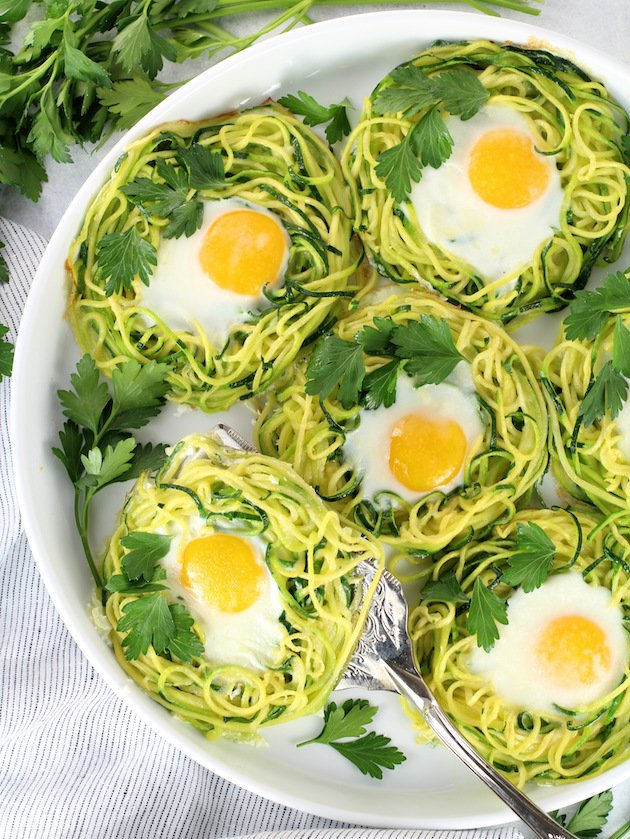 Zoodle Egg Nests Recipe & Image - Partial Platter Over Top Zoodle Egg Nests