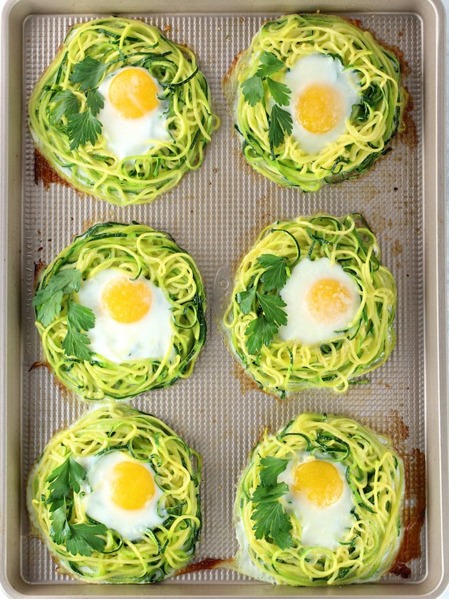 Zoodle Egg Nests Recipe & Image - Cooked Eggs In Nests of Zucchini Noodles