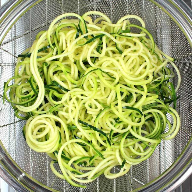 Zoodle Egg Nests Recipe & Image - Zoodles in Strainer