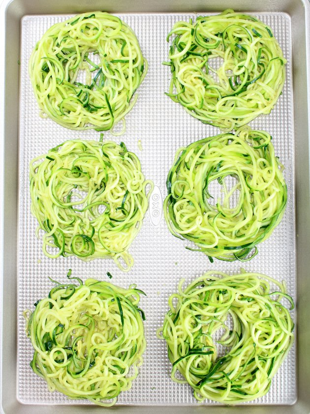 Zoodle Egg Nests Recipe & Image - Zoodle Nests On Cookie Sheet