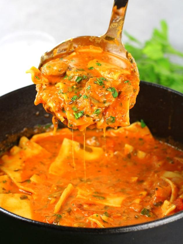 Chicken Sausage Lasagna Soup Recipe & Image - Soup Ladle