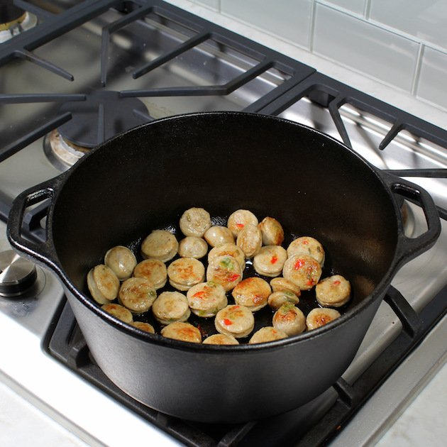 Cooking Chicken Sausage in large soup pot on stovetop