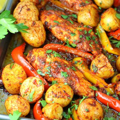 Harissa Chicken Sheet Pan Dinner