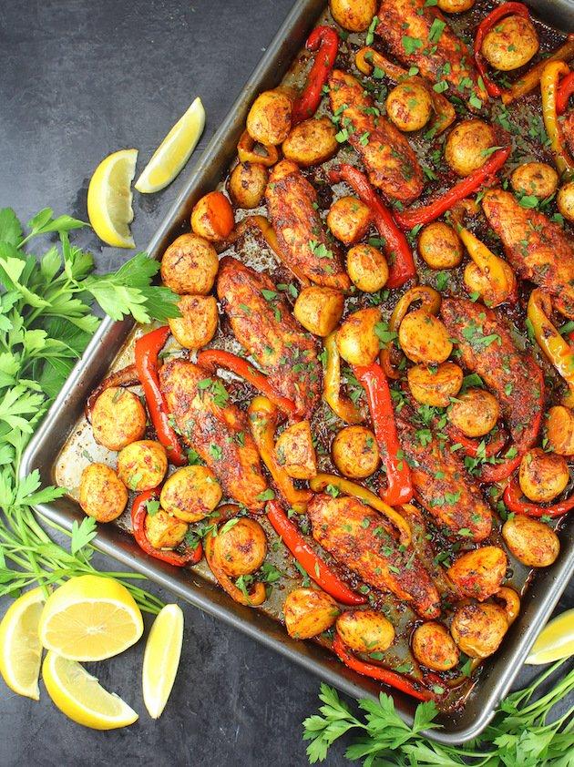 Harissa Chicken Sheet Pan Dinner Recipe & Image - partial pan over the top